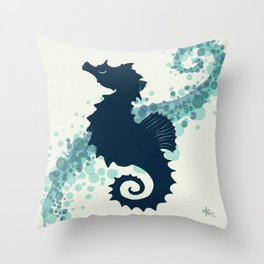 """""""Seahorse Silhouette"""" ` digital illustration by Amber Marine, (Copyright 2015) Throw Pillow"""