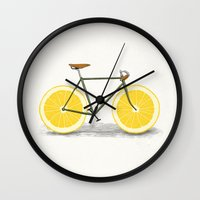 black Wall Clocks featuring Zest by Florent Bodart / Speakerine