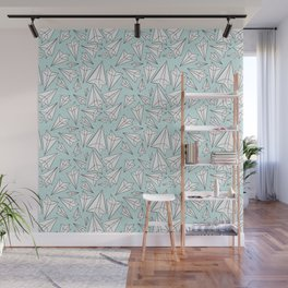 Paper Airplanes Mint Wall Mural
