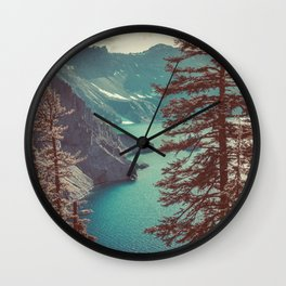 Vintage Blue Crater Lake and Trees - Nature Photography Wall Clock