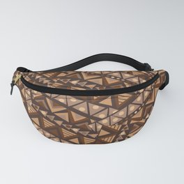 Patchwork with brown geometrical ethnic motifs Fanny Pack