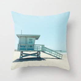 Hermosa Beach Lifeguard Tower 19 Throw Pillow