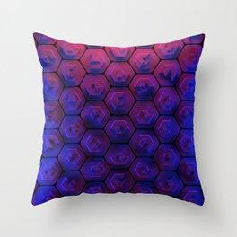 Blue hexagonal honeycomb Throw Pillow