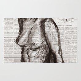 Rain Shower (Regenschauer) Charcoal Newspaper Figure Drawing Rug
