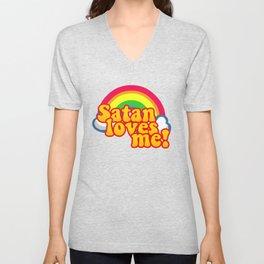 Satan Loves Me Rainbow - Atheism Anti Religion Unisex V-Neck