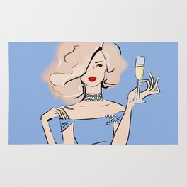 Fashion Blonde Girl with Champagne Rug
