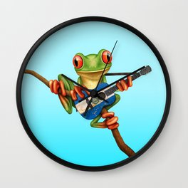 Tree Frog Playing Acoustic Guitar with Flag of El Salvador Wall Clock