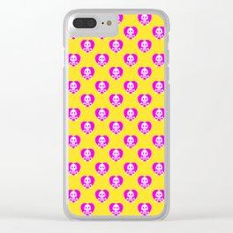 Skull heart pattern, punk rock skull, punk girl, love kills, yellow pink hearts, girly emo skull Clear iPhone Case