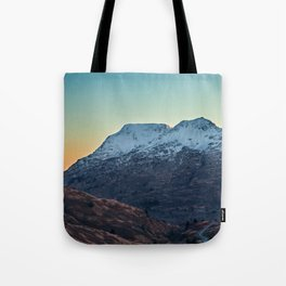 Sunset on a Snow Covered Mountain Photography Print Tote Bag