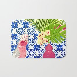 PINK PARROT AND PORTUGESE TILES Bath Mat