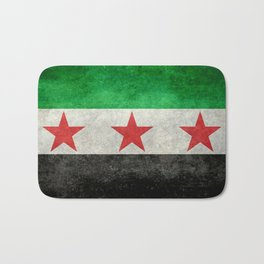 Independence flag of Syria, vintage retro style Bath Mat