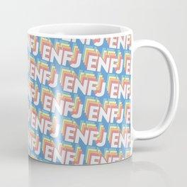 ENFJ Trendy Rainbow Text Pattern (Blue) Coffee Mug