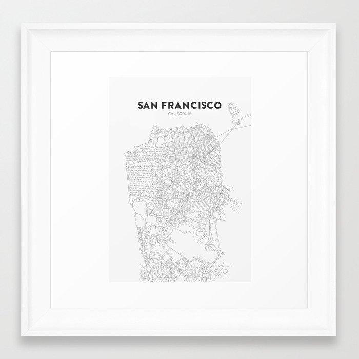 San Francisco Map Framed Art Print by lumenbigott Society6