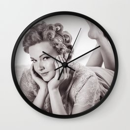 """""""Curlers Before Bed"""" - The Playful Pinup - Lounging in Lace Pin-up Girl by Maxwell H. Johnson Wall Clock"""