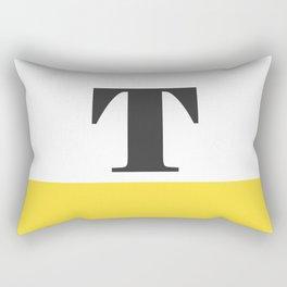 Monogram Letter T-Pantone-Buttercup Rectangular Pillow