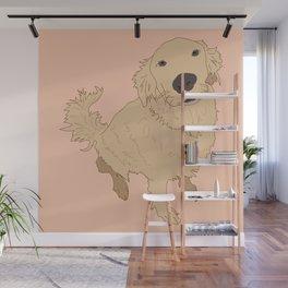 Golden Retriever Love Dog Illustrated Print Wall Mural