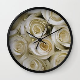 White roses by the window - Raindrops Wall Clock