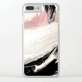 Crash: an abstract mixed media piece in black white and pink Clear iPhone Case