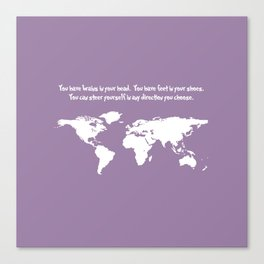 World Map with Dr. Seuss Quote Canvas Print