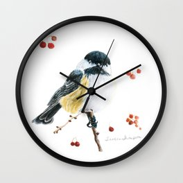 Christmas Chickadee by Teresa Thompson Wall Clock