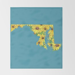 Maryland in Flowers Throw Blanket