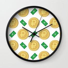 Russian ruble pattern background. Wall Clock
