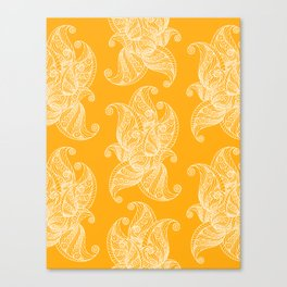 White and Yellow Feathers Canvas Print
