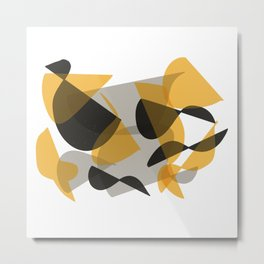 Abstract Black and Yellow Metal Print