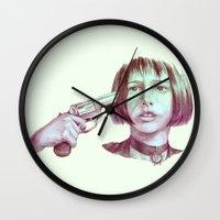 leon Wall Clocks featuring leon - mathilda  by Doruktan Turan