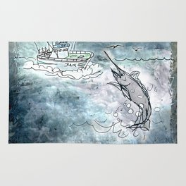 Fishing swordfish Rug