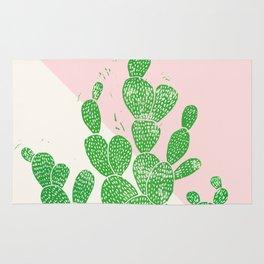Linocut Cacti Family Rug