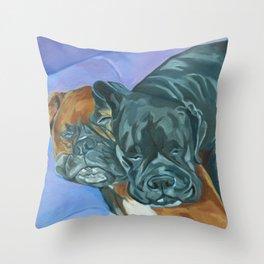 Boxer Buddies Dog Portrait Throw Pillow