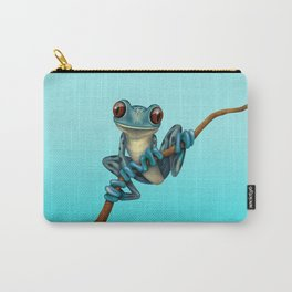 Cute Blue Tree Frog on a Branch Carry-All Pouch