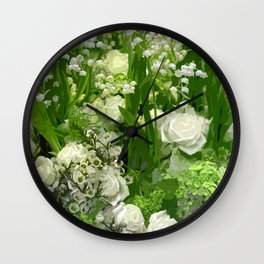 Floral Art In Green And White Wall Clock