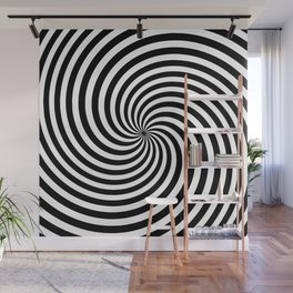 Black And White Op Art Spiral Wall Mural