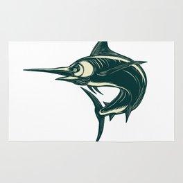 Blue Marlin Jump Scratchboard Rug