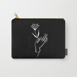 Hold This Flower for Me, Please - White on black Carry-All Pouch