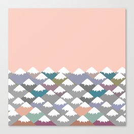 Nature background with Mountain landscape. Gray, pink, blue navy mountain with snow-capped peaks. Canvas Print