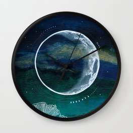 Crescent Moon Mixed Media Painting Wall Clock