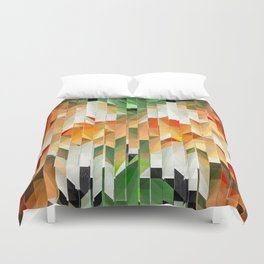 Geometric Tiled Orange Green Abstract Design Duvet Cover