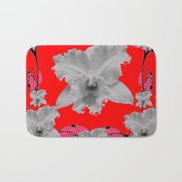 MODERN ART RED ART NOUVEAU WHITE ORCHIDS ART Bath Mat
