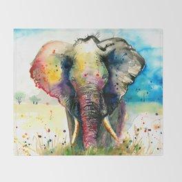 RAINBOW ELEPHANT WATERCOLOR Throw Blanket