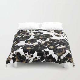 Modern Elegant Black White and Gold Floral Pattern Duvet Cover