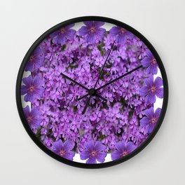 WHITE  LILAC PURPLE SPRING PHLOX FLOWERS GARDEN Wall Clock