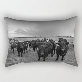 Hanging Out - Black and White Photo of Cows in Kansas Rectangular Pillow