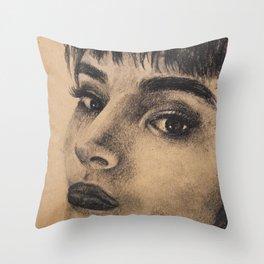 Graphic art, coal portrait brunette girl Throw Pillow