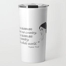Virginia Woolf Feminist Quote Travel Mug