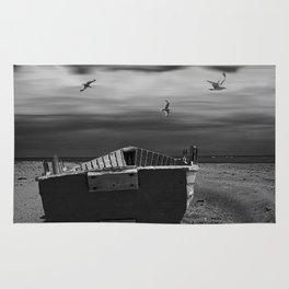 Row Boat on a Sandy Beach in Biscayne Bay Florida Rug