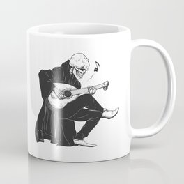 Minstrel playing guitar,grim reaper musician cartoon,gothic skull,medieval skeleton,death poet illus Coffee Mug