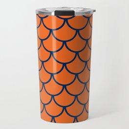 Orange & Blue Fish Scales Pattern Travel Mug